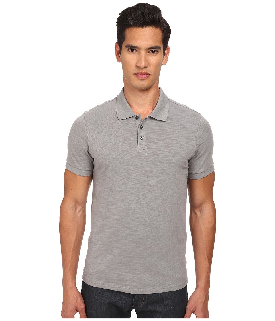 Vince - Slub Polo Shirt (Smoke) Men's Short Sleeve Knit