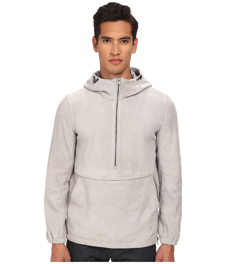 Vince - Pullover 1/2 Zip Leather Hoodie (Mist) Men's Sweatshirt
