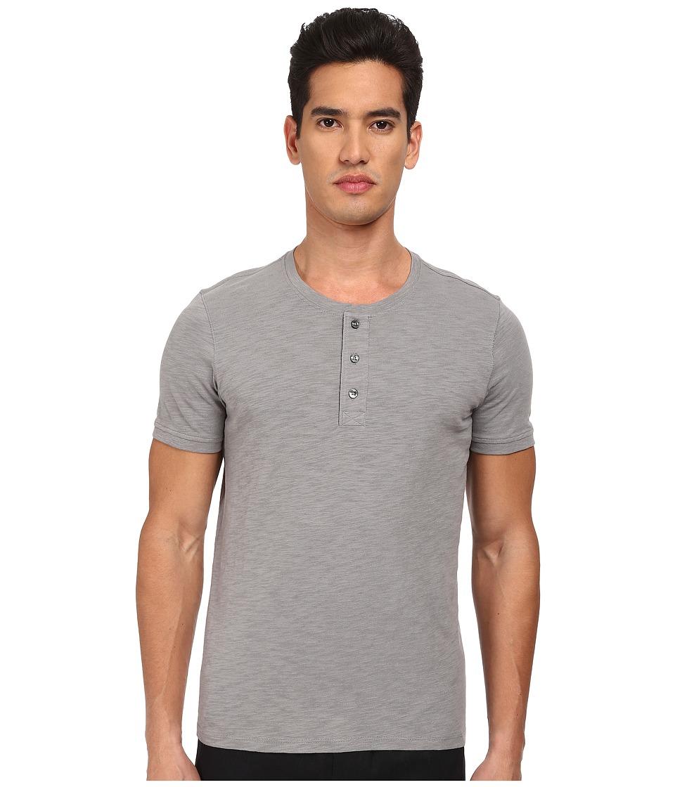 Vince - Short Sleeve Slub Henley (Smoke) Men's Short Sleeve Pullover
