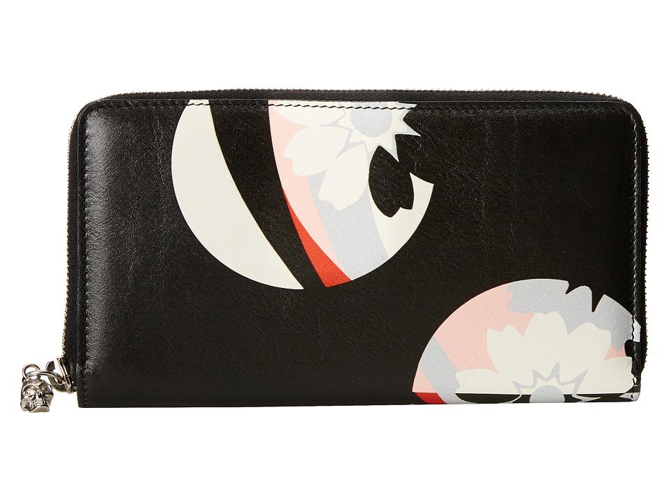 Alexander McQueen - Contin Zip Wallet (Black/Geisha Pink) Wallet Handbags