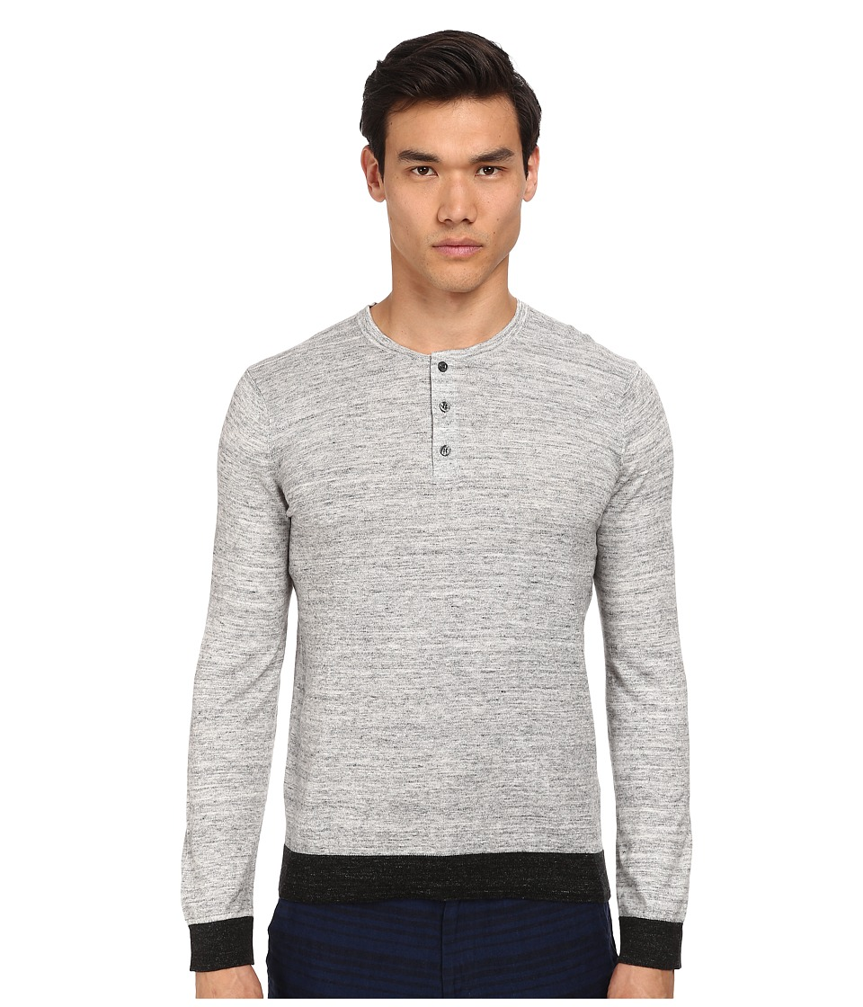Vince - Long Sleeve Henley Sweater (Heather Mist/Shadow) Men's Sweater