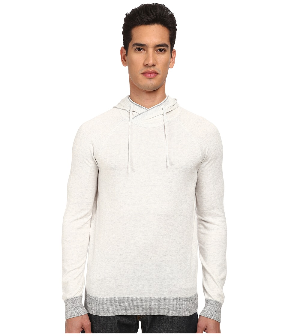 Vince - Long Sleeve Hoodie Sweater (Heather White/Heather Mist) Men