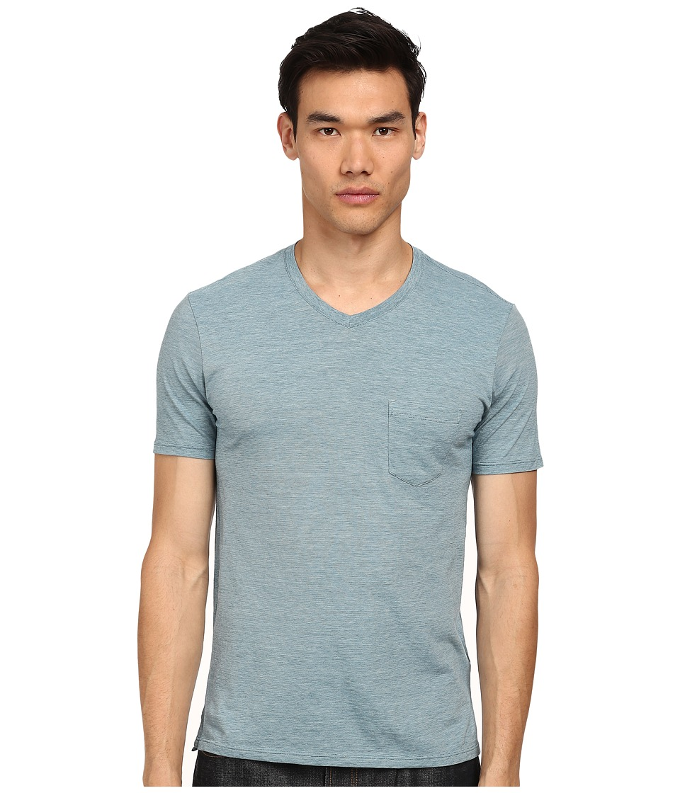 Vince - V-Neck Pocket Tee (Ocean Mist/Reef Green) Men's T Shirt
