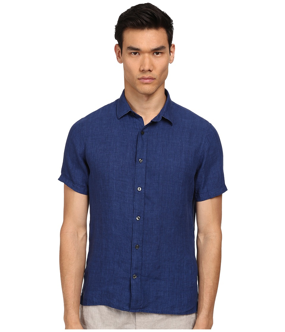 Vince - Short Sleeve Button Up Shirt (Indigo) Men's Short Sleeve Button Up