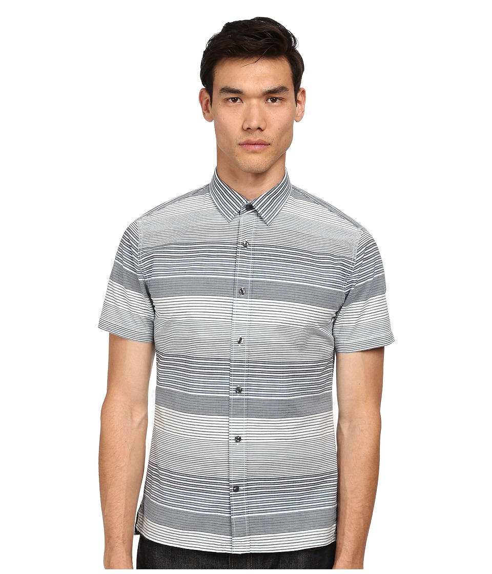 Vince - Striped Short Sleeve Button Up Shirt (Nocturn) Men's Short Sleeve Button Up