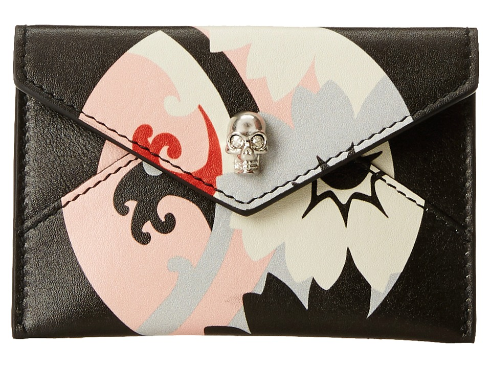 Alexander McQueen - Envelope Card Holder (Black/Geisha Pink) Checkbook Wallet