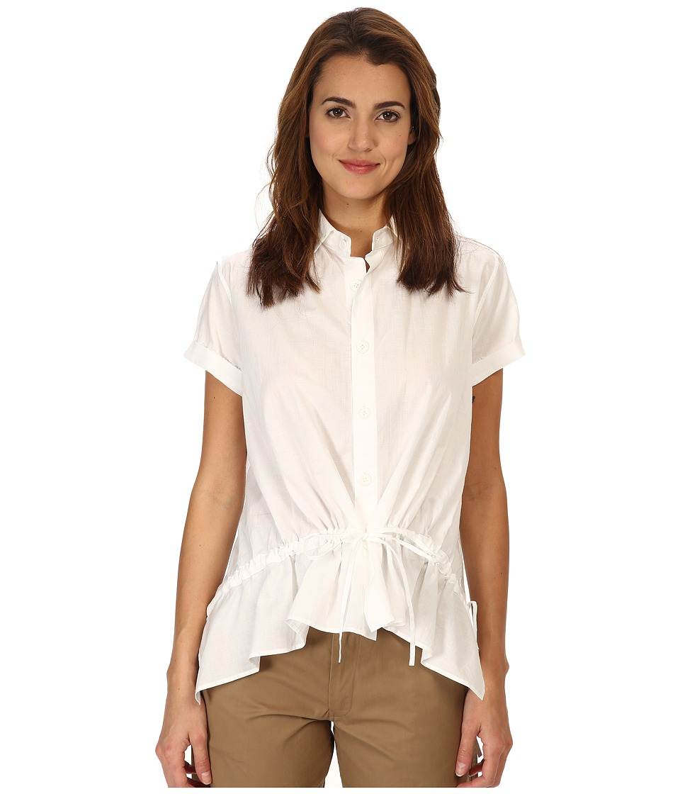 Y's by Yohji Yamamoto - Front Gather (White) Women's Short Sleeve Button Up