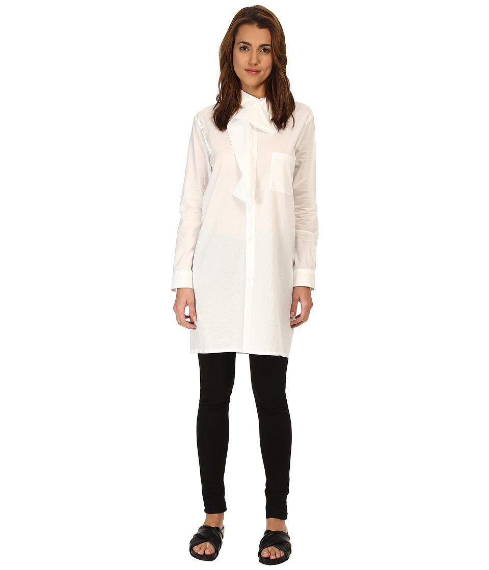 Y's by Yohji Yamamoto - Drape Collar (White) Women's Long Sleeve Button Up