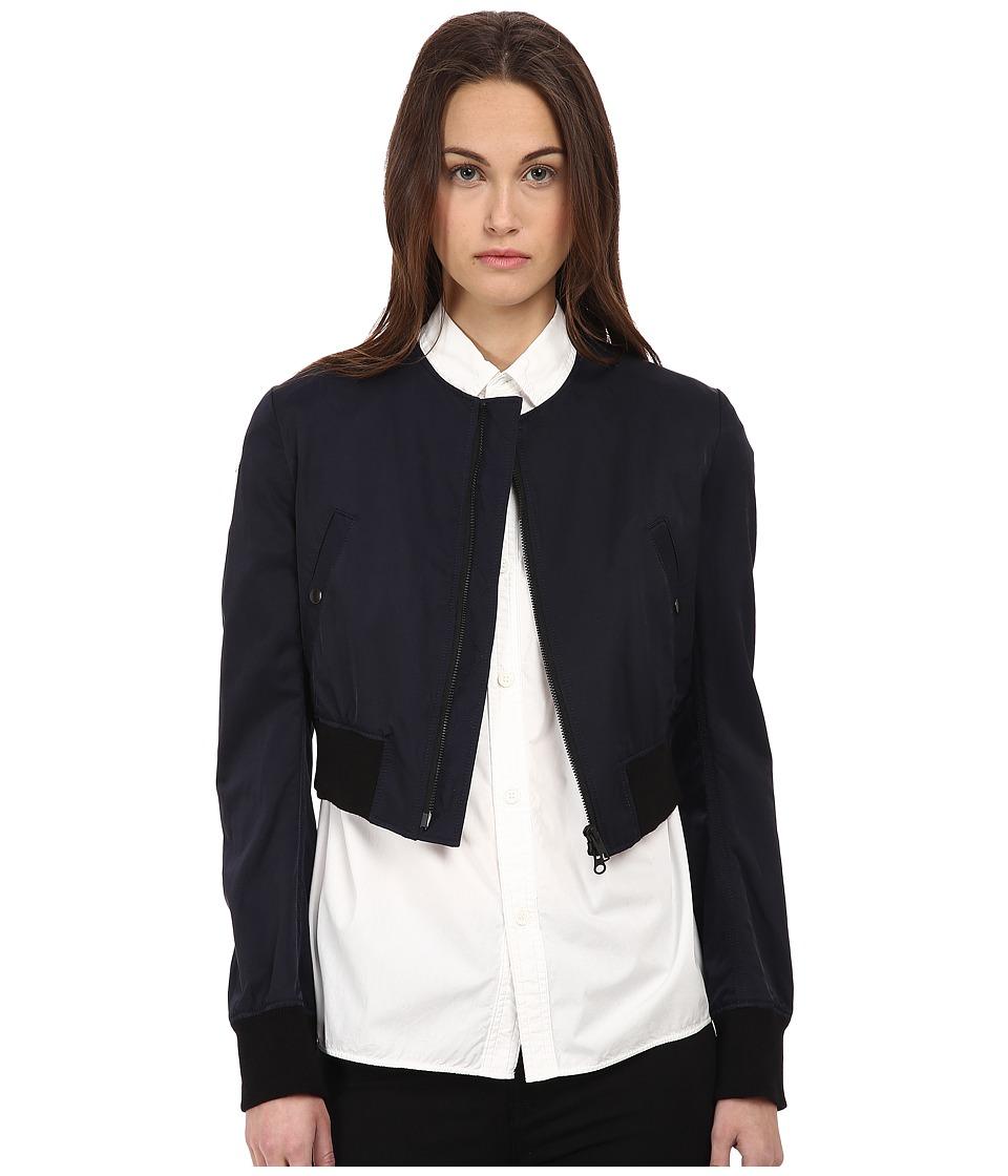 Y's by Yohji Yamamoto - Collarless Blouson (Navy) Women's Coat