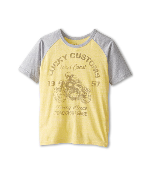 Lucky Brand Kids - Drag Race Raglan (Big Kids) (Banana) Boy's T Shirt