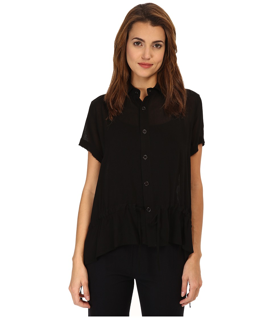 Y's by Yohji Yamamoto - Front Gather (Black) Women's Short Sleeve Button Up