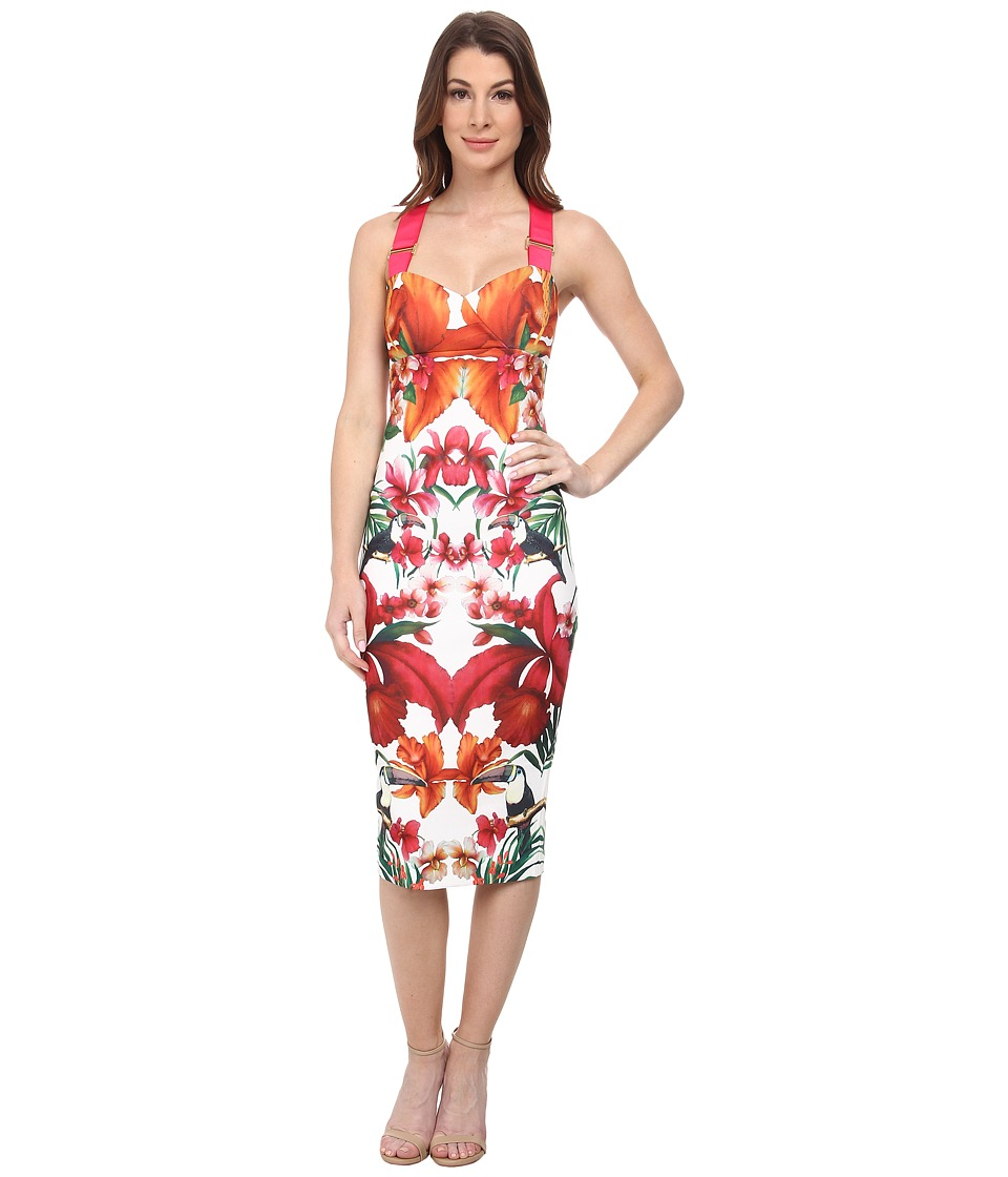 Ted Baker - Jameela Tropical Toucan Midi Dress (White) Women's Dress