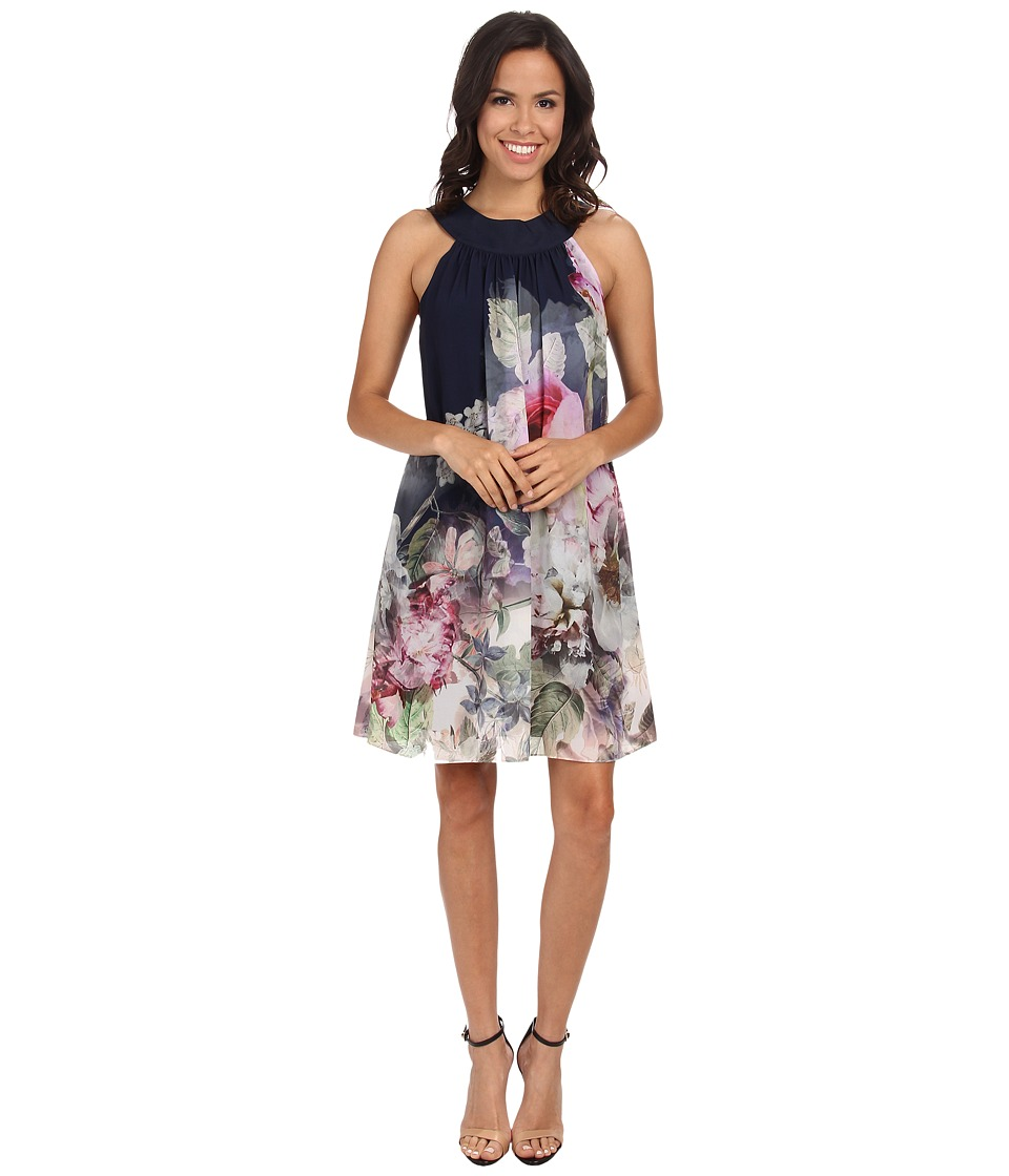 Ted Baker - Marindi Pure Peony Ombre Swing Dress (Navy) Women's Dress