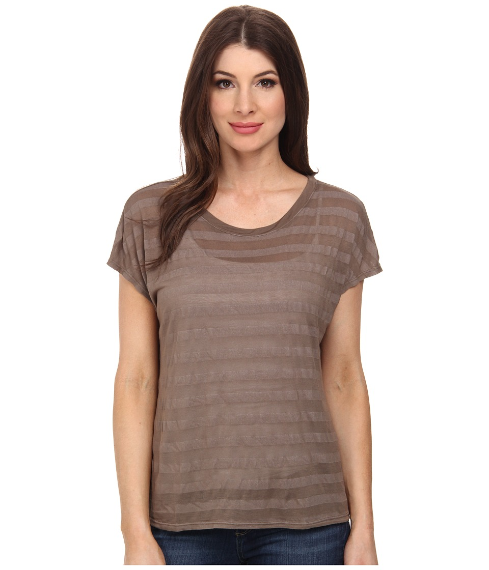 Michael Stars Shadow Stripe Short Slevee Crew Neck (Caper) Women