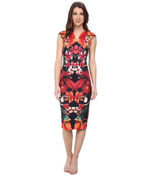 Ted Baker - Bismii Tropical Toucan Cap Sleeve Dress (Black) Women's Dress