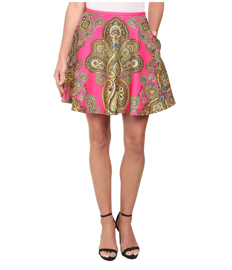 Ted Baker - Gaplly Jewel Paisley Print Full Skirt (Bright Pink) Women