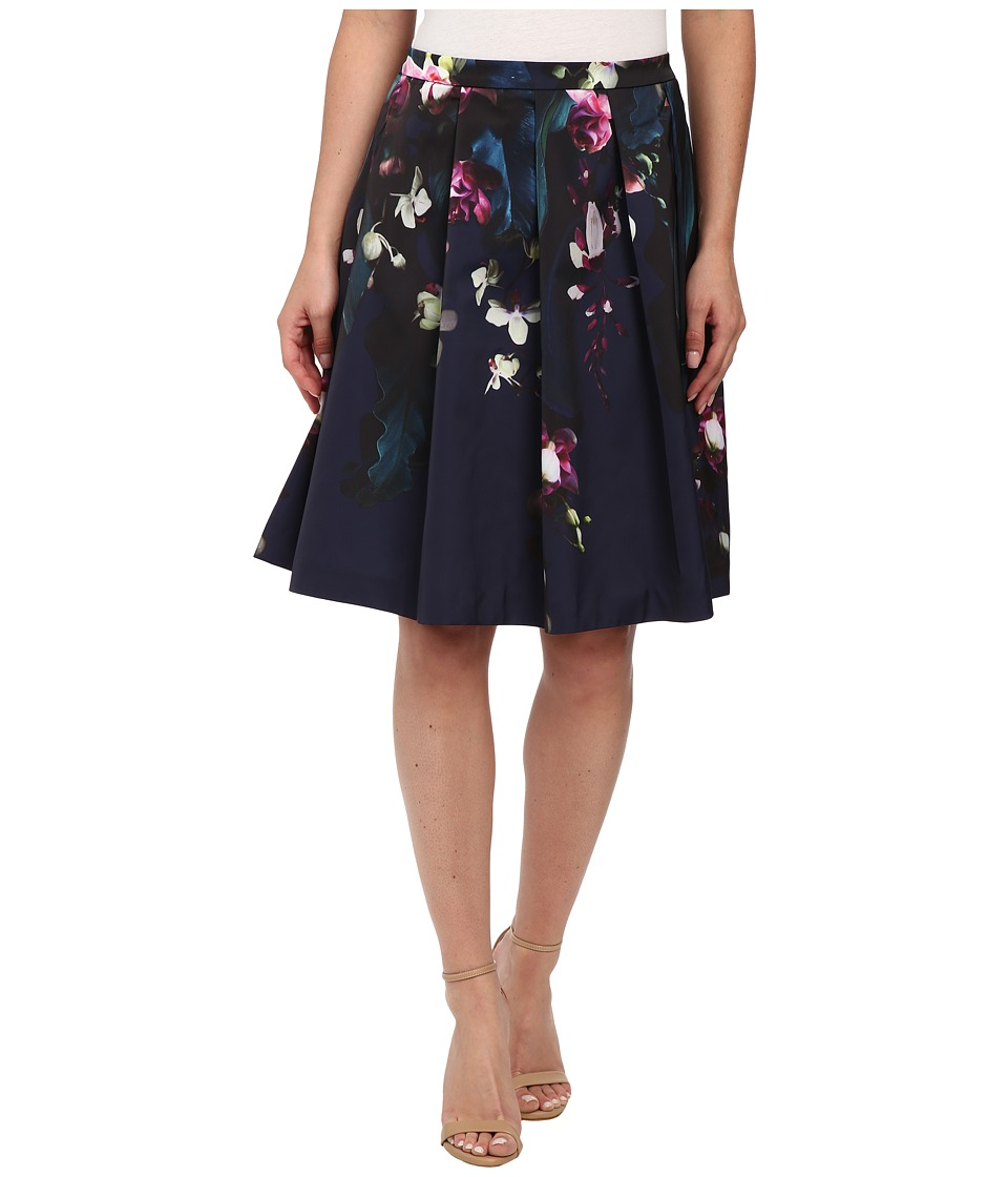 Ted Baker - Quirina Fuchsia Floral Full Skirt (Dark Blue) Women's Skirt