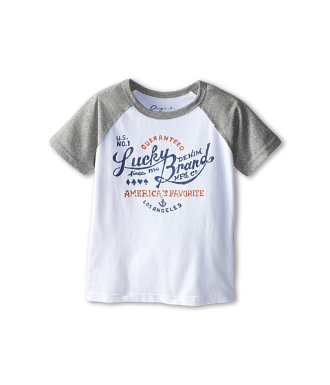 Lucky Brand Kids - Lucky Denim Raglan (Little Kids/Big Kids) (White) Boy's Clothing
