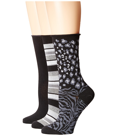 HUE - Jean Sock 3 Pack (Black/Light Heather Stripe/Black Solid/Black Animal) Women's Crew Cut Socks Shoes