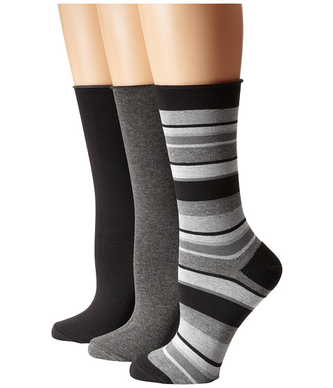 HUE - Jean Sock 3 Pack (Black/Light Heather Stripe/Black Solid/Graphite Heather Solid) Women