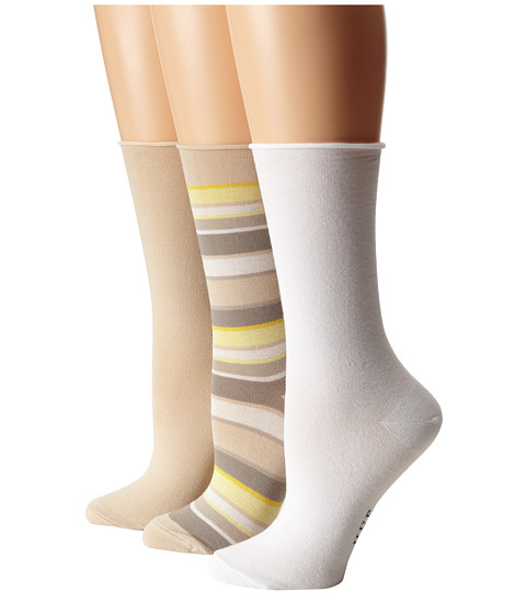 HUE - Jean Sock 3 Pack (Chinos Stripe/Chinos Solid/White Solid) Women's Crew Cut Socks Shoes