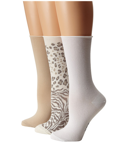 HUE - Jean Sock 3 Pack (Ivory Animal/Chinos Solid/White Solid) Women