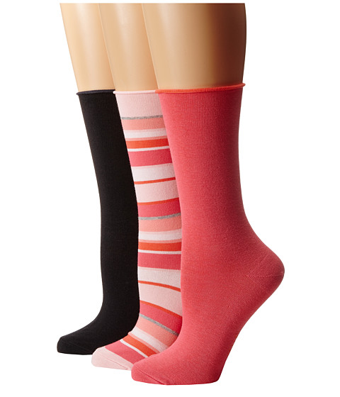 HUE - Jean Sock 3 Pack (Tutu Stripe/Honeysuckle Solid/Black Solid) Women