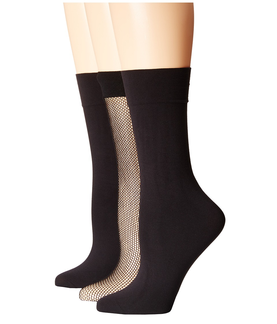 HUE - Fishnet/Opaque KH 3-Pair Pack (15241 Black/U5304 Black) Women