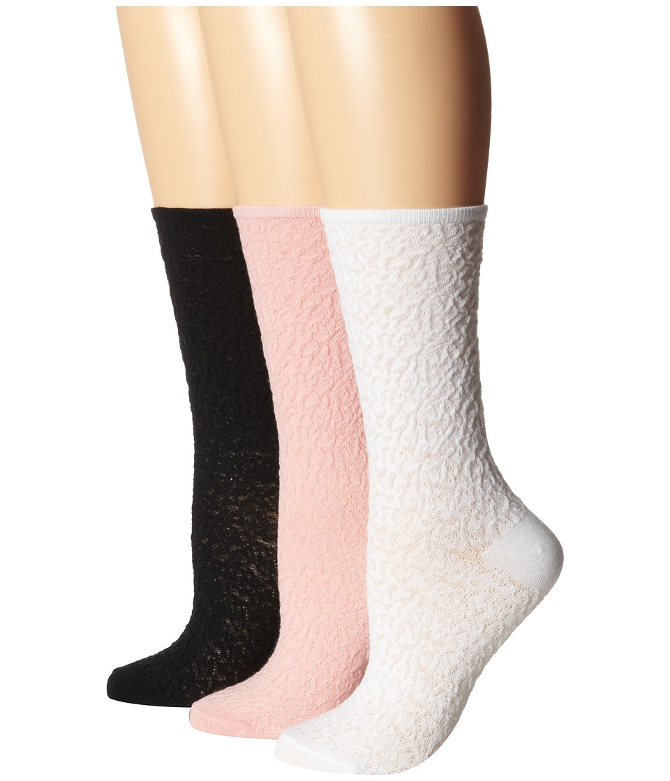 HUE - Femme Pucker Sock 3-Pair Pack (Tutu Solid/White Solid/Black Solid) Women's Crew Cut Socks Shoes