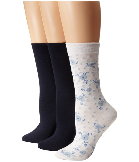 HUE - Femme Top Sock 3-Pair Pack (Blue Jean Flower/Navy Solid/Navy Solid) Women's Crew Cut Socks Shoes