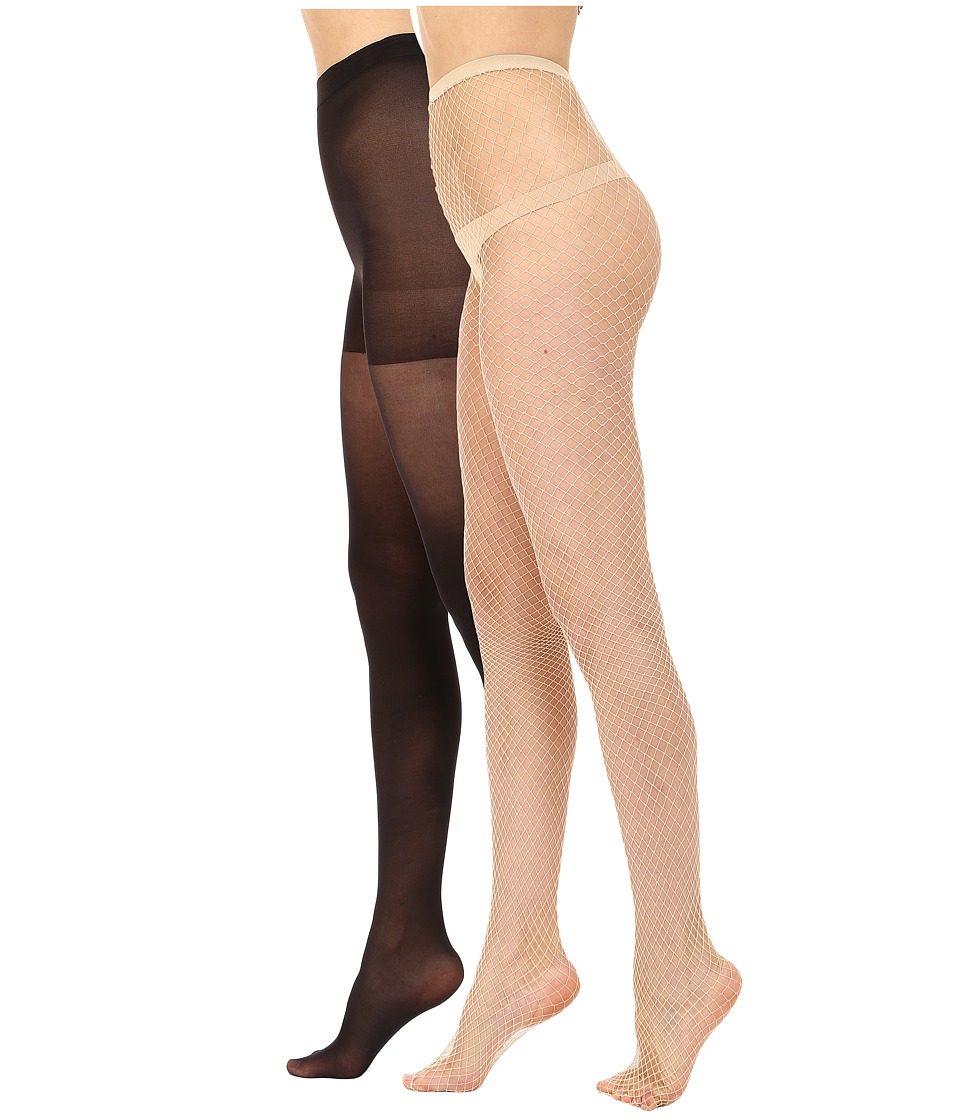 HUE - Super Fishnet/Supersoft Lightweight (Nude/Black) Hose