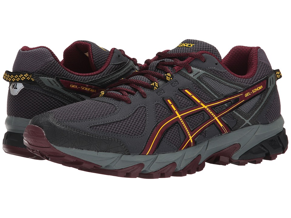 ASICS - GEL-Sonomatm (Dark Grey/Royal Burgandy/Yellow) Men's Running Shoes