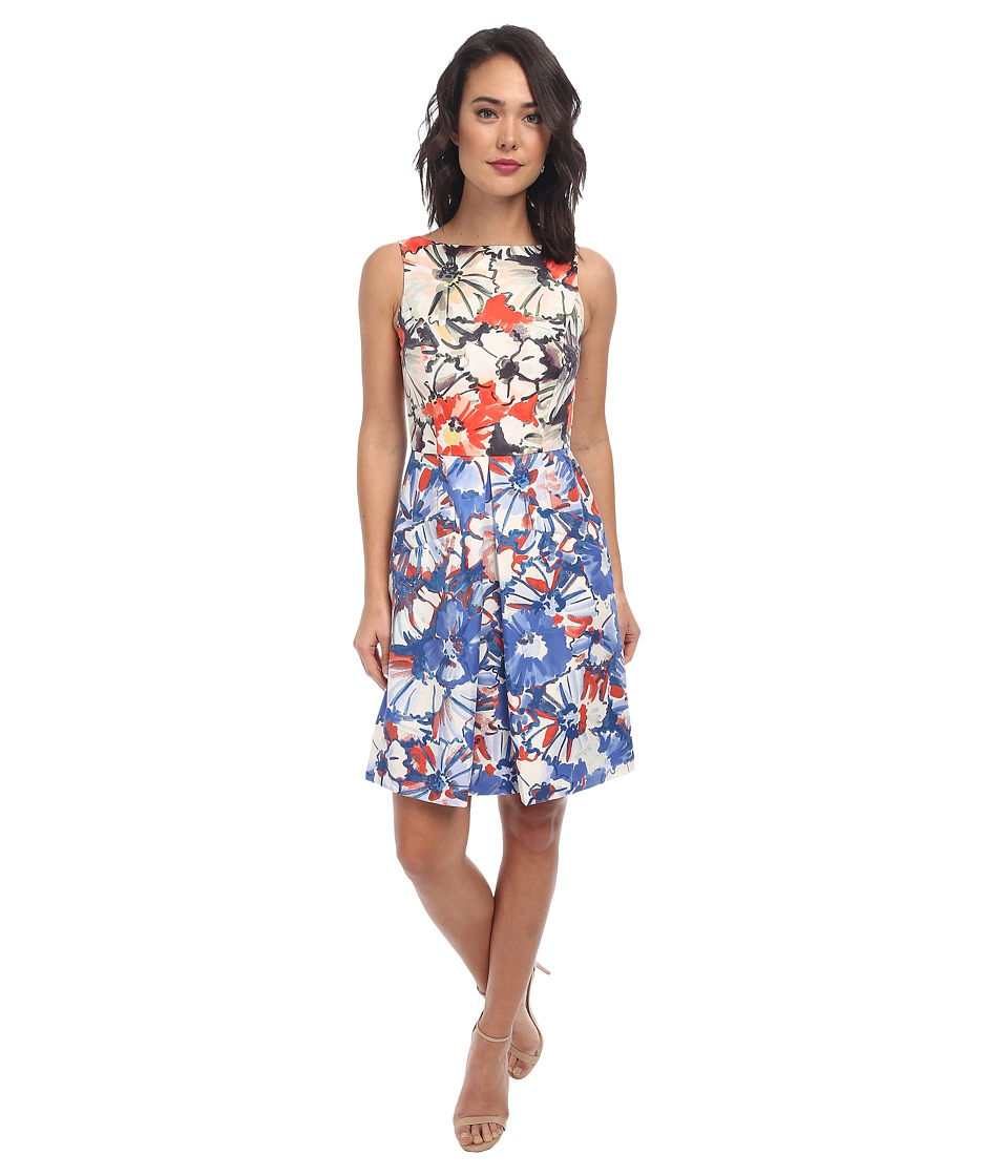 Donna Morgan - Sleeveless Twill Floral Fit and Flare Dress (Red) Women