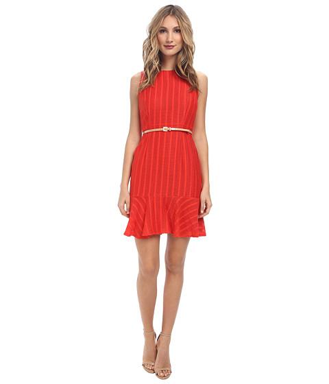 Donna Morgan - Sleeveless Novelty Flippy Skirt w/ Belt (Hot Pepper) Women