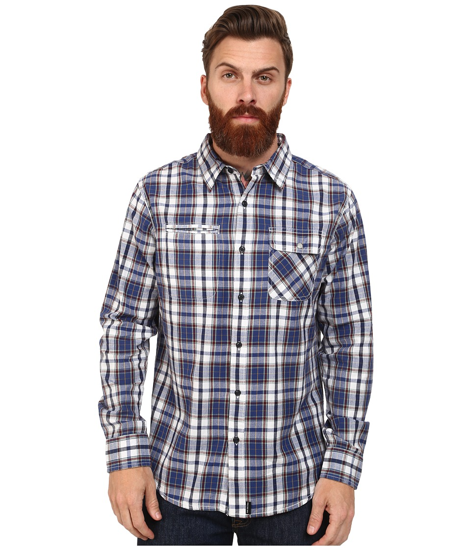 Macbeth - Hawkins Long Sleeve Woven (Blue) Men's Long Sleeve Button Up