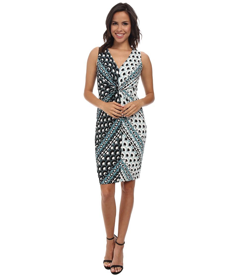 Donna Morgan - Sleeveless Knot Front Jersey Shift Dress (Lagoon/Black) Women's Dress