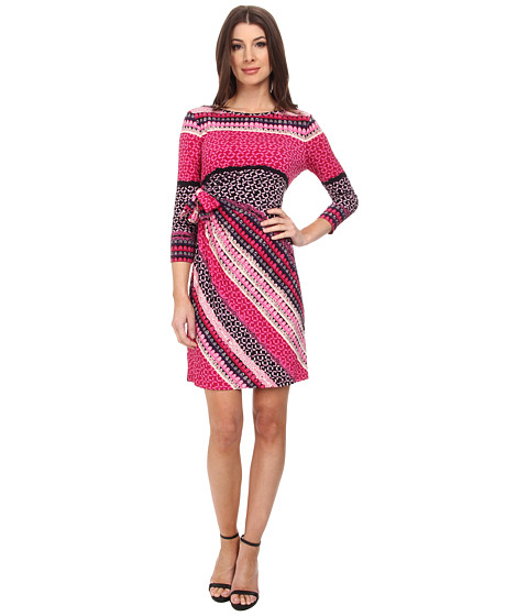 Donna Morgan - 3/4 Sleeve Jersey Side Tie Dress (Pink Multi) Women
