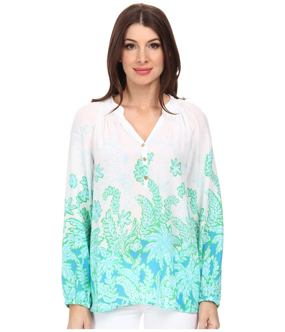 Lilly Pulitzer - Elsa Top (Resort White Palm Party Engi) Women's Blouse