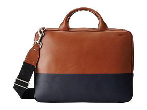 Jack Spade - Dipped Leather Slim Brief (Tobacco/Navy) Messenger Bags