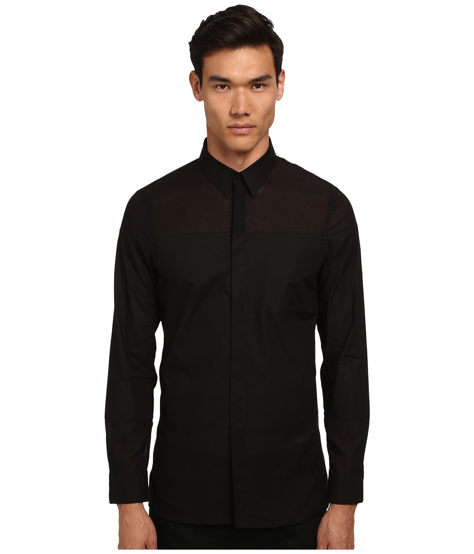 HELMUT LANG - Gauze Shirting Panel Shirt (Black) Men's Long Sleeve Button Up