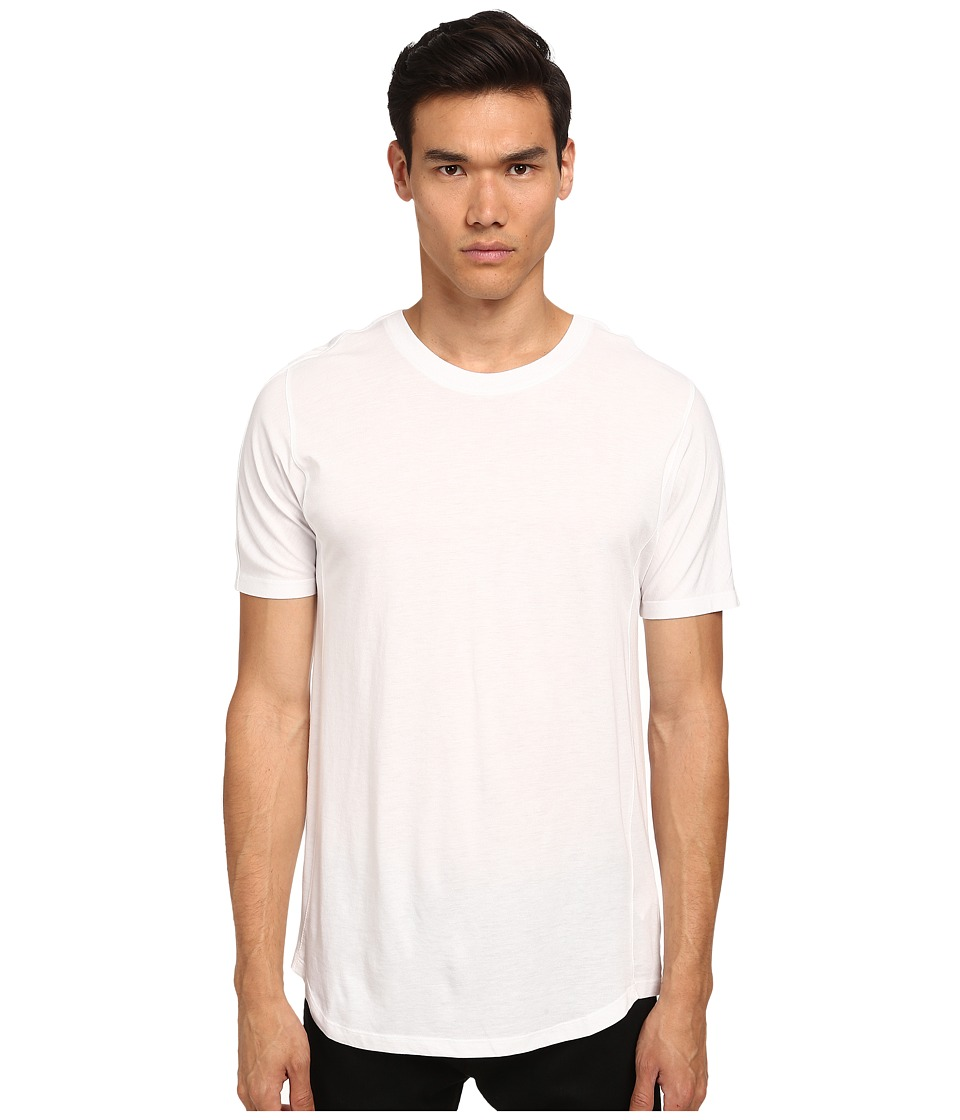 HELMUT LANG - Logo Jersey Round Hem Short Sleeve (Optic White) Men's T Shirt