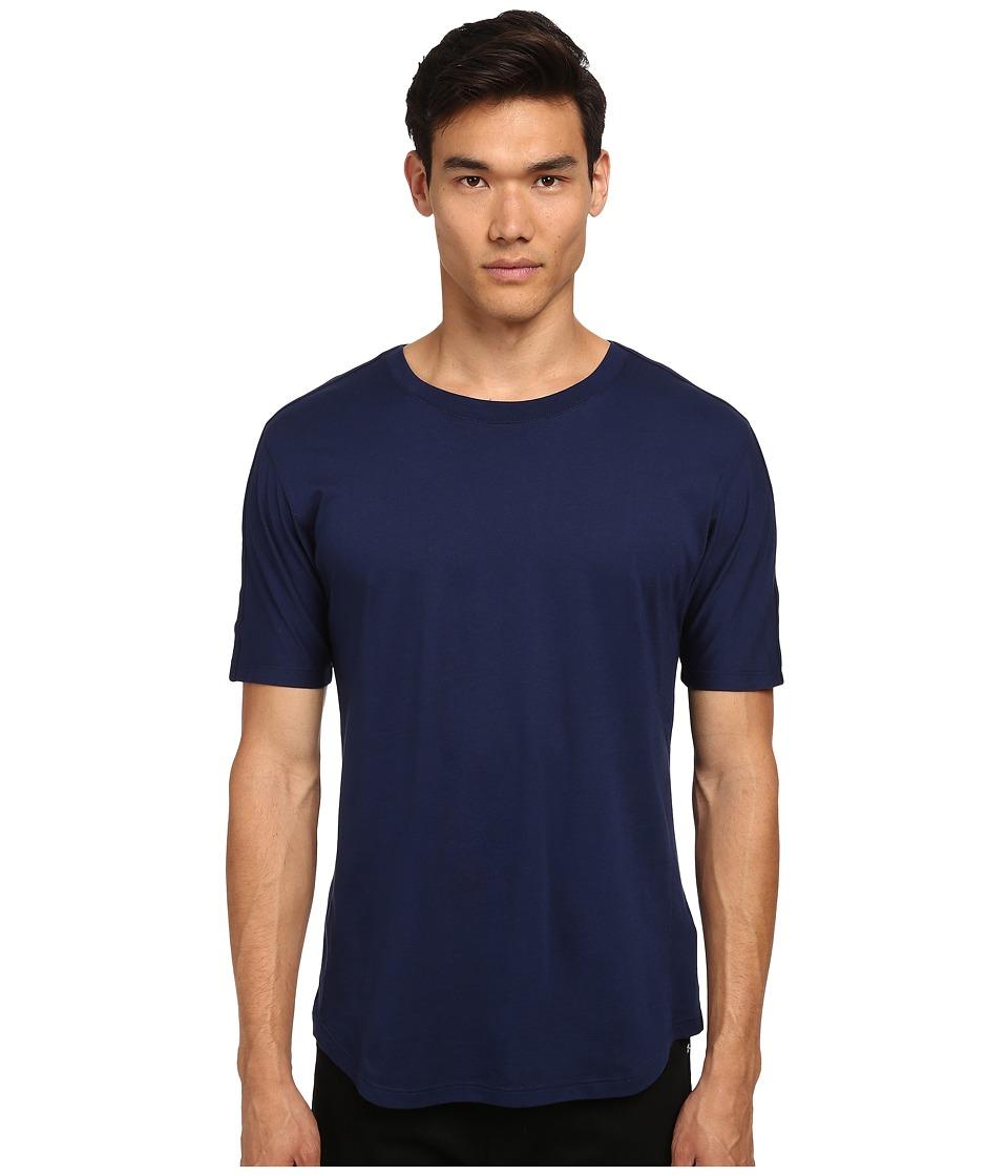 HELMUT LANG - Logo Jersey Round Hem Short Sleeve (Indigo) Men's T Shirt