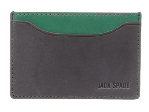 Jack Spade - Mitchell Leather Credit Card Holder (Grey/Green) Credit card Wallet