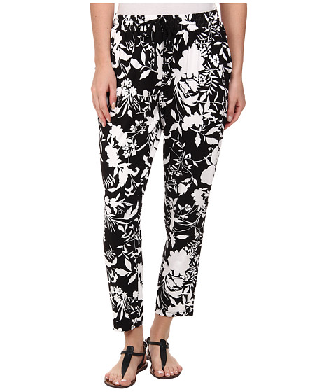 HUE - Floral Chill Rayon Jersey Skimmer (Black) Women
