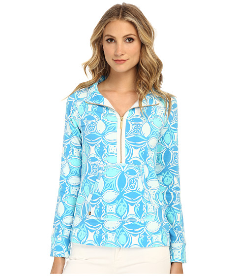 Lilly Pulitzer - Skipper Popover Printed (Ariel Blue What A Racquet) Women's Long Sleeve Pullover