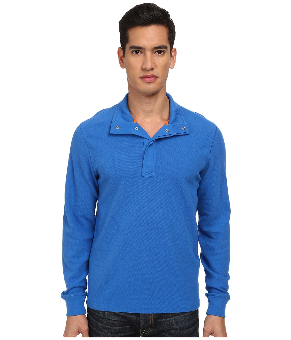 Jack Spade - Barstow Half-Snap Thermal (Strong Blue) Men's Long Sleeve Pullover