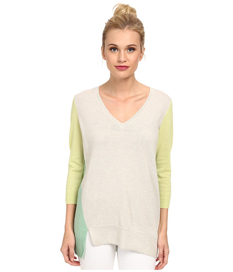 Autumn Cashmere - Color Block Asymmetrical Sweater (Hemp/Lettuce/Absinthe) Women's Long Sleeve Pullover