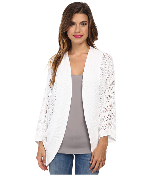Autumn Cashmere - Pointelle Cocoon Cardigan with Back Pleat (Bleach White) Women's Sweater