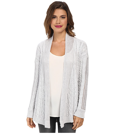 Autumn Cashmere - Multi Stitch Drape Cardigan (Platinum) Women's Sweater