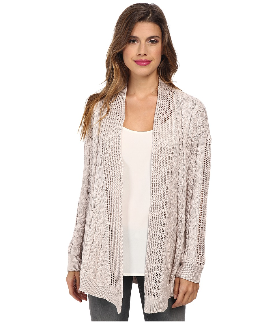 Image of Autumn Cashmere - Multi Stitch Drape Cardigan (Flax) Women's Sweater